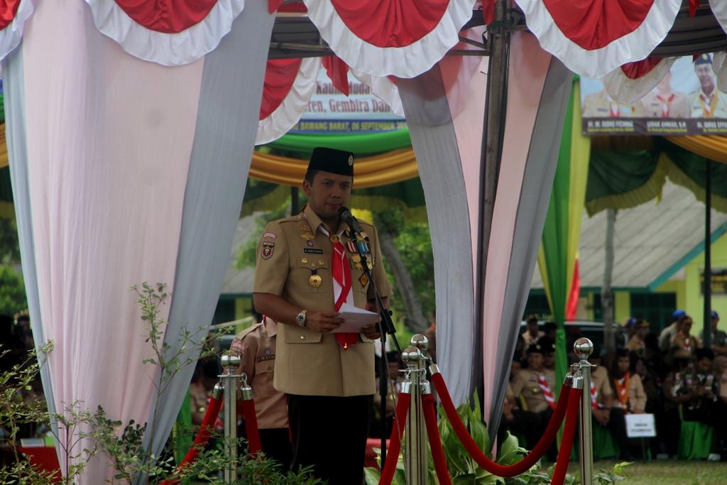 Gubernur Ridho memberikan sambutan pada HUT Pramuka Lampung